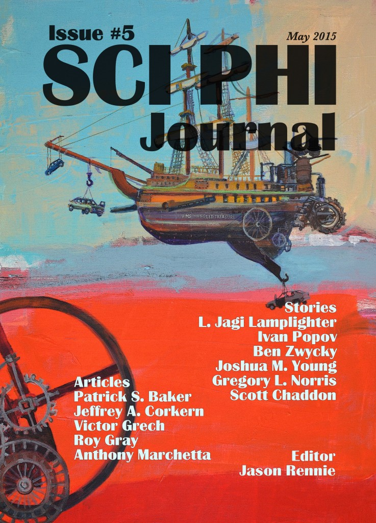 Sciphi issue #5 cover with names amended.
